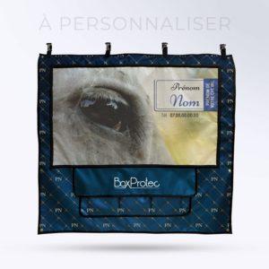 tenture de box PRO 1 à personnaliser avec les initiales coloris saphir bleu molletonnée