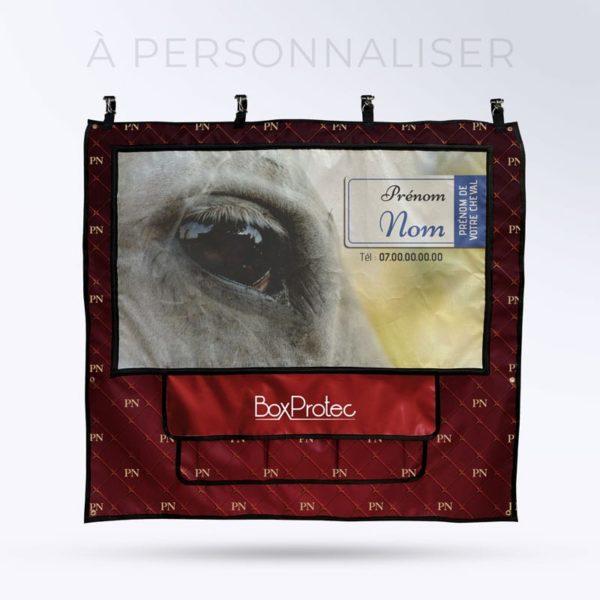 tenture de box PRO 1 personnalisables avec vos initiales Boxprotec couleur rouge anglais