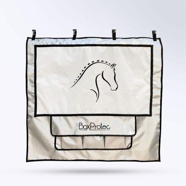 tenture de box avec pochettes et toile micro-aéré pour chevaux argent