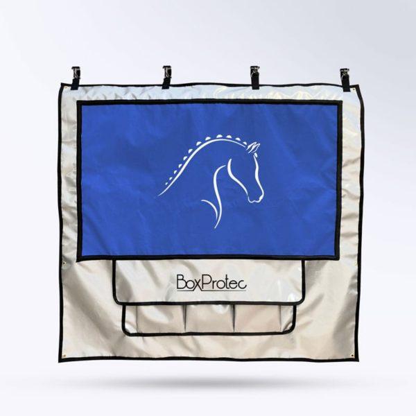tenture de box avec pochettes et toile micro-aéré pour chevaux argent et bleu