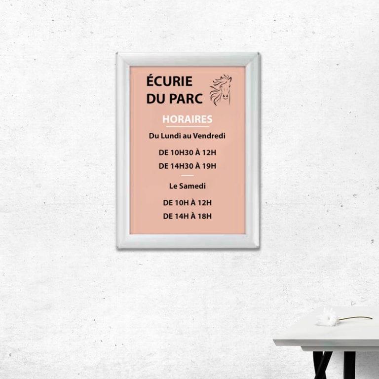 cadres clic pour affichage horaire mural