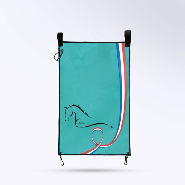 tenture de porte bleu turquoise Boxprotec fabrication française