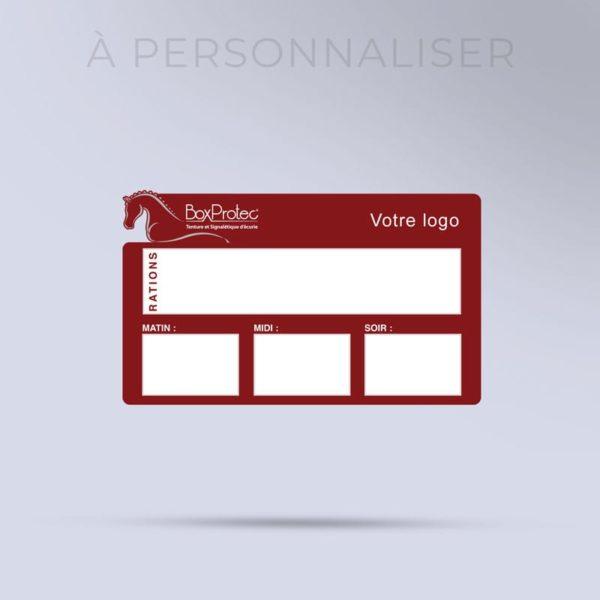 plaque de ration effaçable personnalisée à votre logo