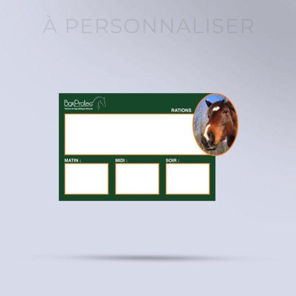 plaque de ration à personnaliser avec la photo de votre cheval