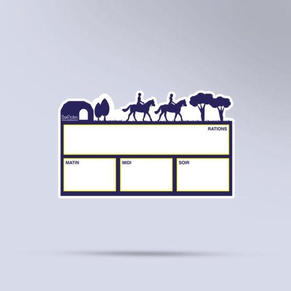 plaque de ration effaçable chevaux bleu