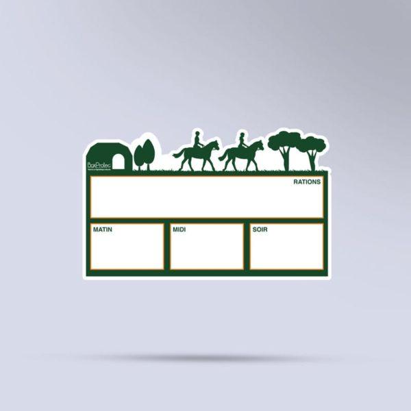 plaque de ration effaçable balade chevaux vert
