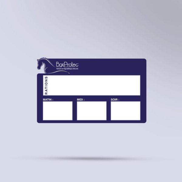 panneau de ration chevaux effaçable bleu