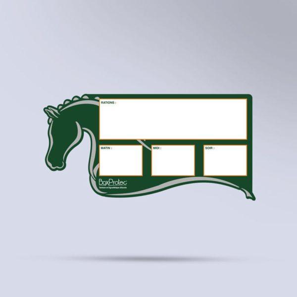 pancarte de ration pour chevaux effaçable vert Boxprotec