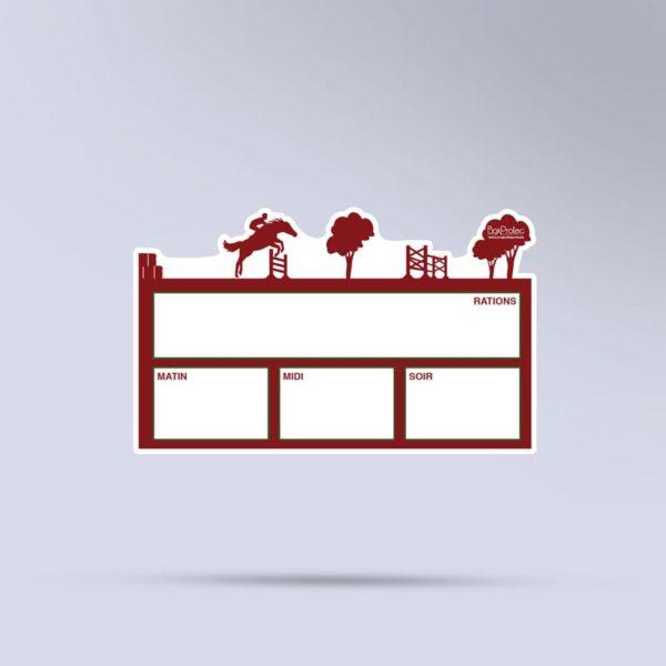 plaque de ration équestre effaçable CSO rouge