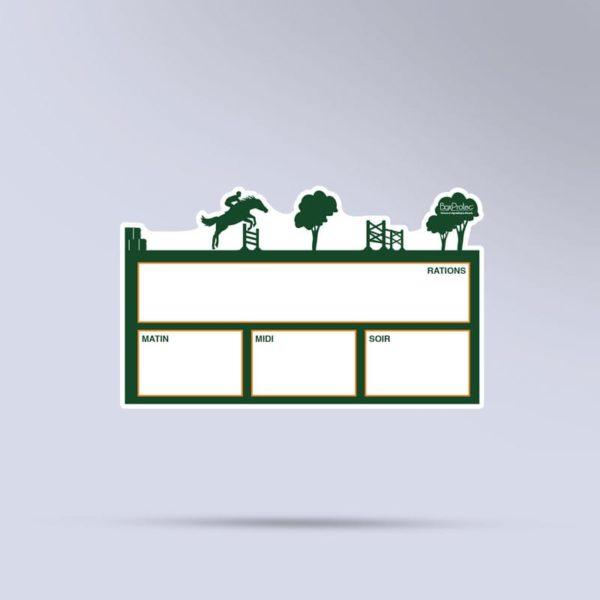 plaque de ration équestre effaçable CSO vert