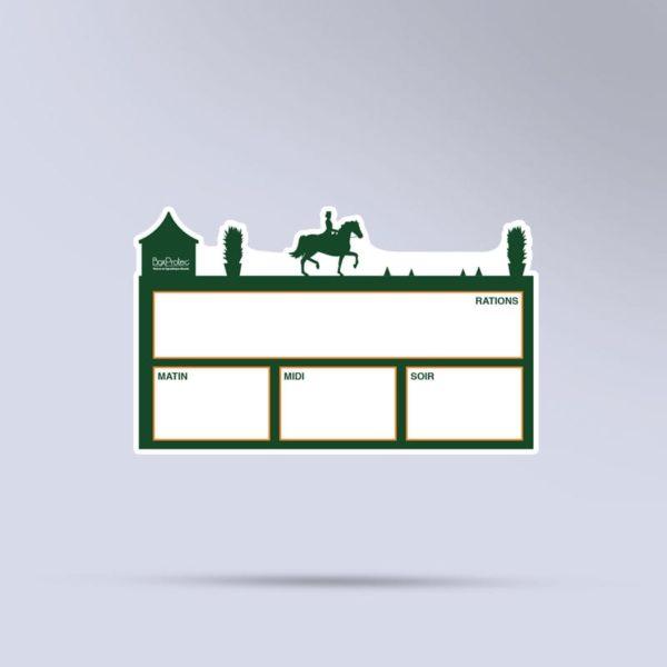 plaque de ration équestre effaçable dressage vert