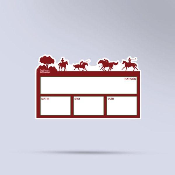 plaque de ration effaçable polo paddock rouge