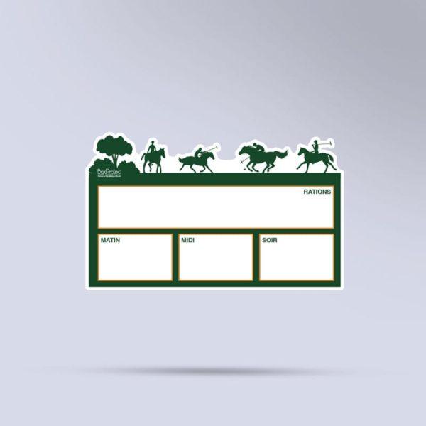 plaque de ration effaçable polo paddock vert