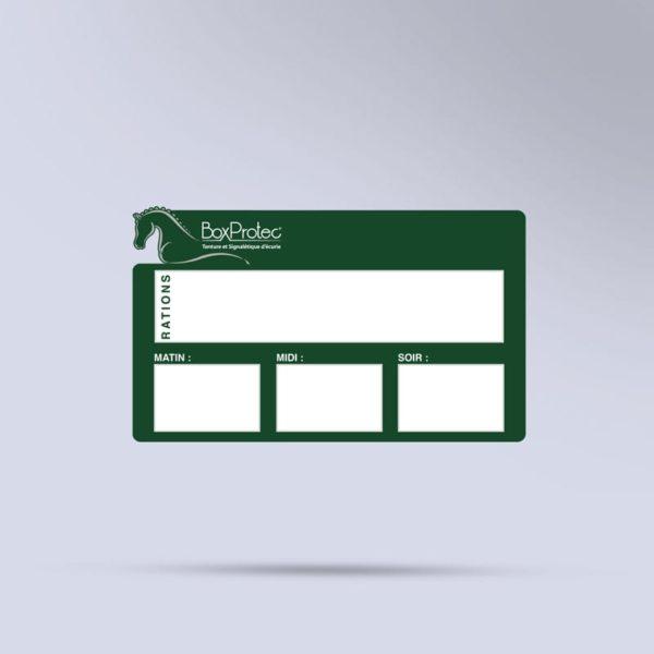plaque de ration effaçable vert boxprotec