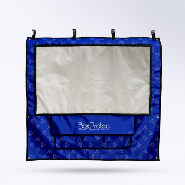 Tenture de box Bleue avec motif avec Toile micro perforée personnalisable