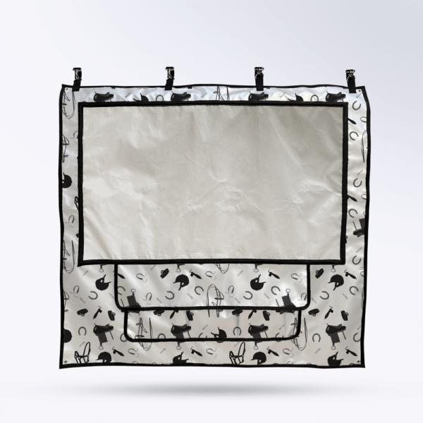 Tenture de box Argent avec motif équestre Toile micro perforée personnalisable