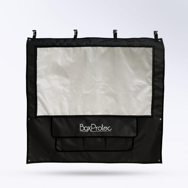 Tenture de box Noir Toile micro perforée personnalisable