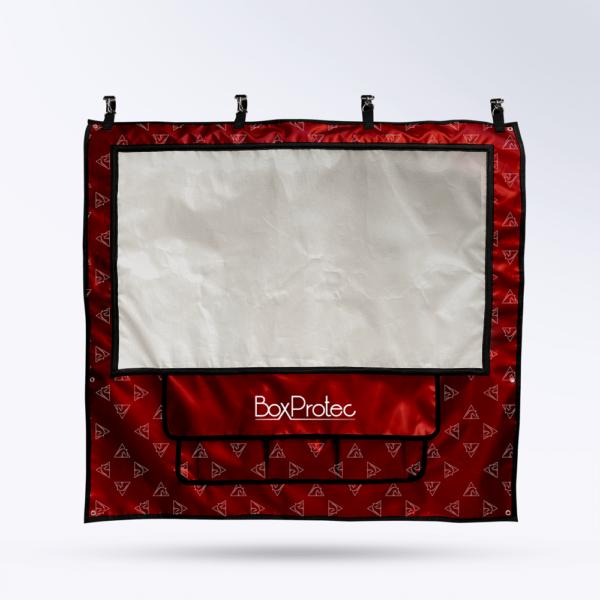Tenture de box Rouge avec motif Toile micro perforée personnalisable