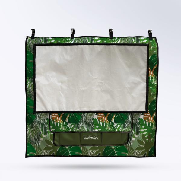 Tenture de box Motif tropical Toile micro perforée personnalisable