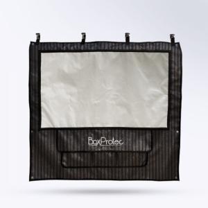Tenture de box Tole noireavec Toile micro perforée personnalisable