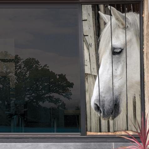 moustiquaire de baie vitrée motif cheval 210 x 100 cm