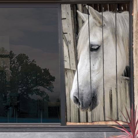 moustiquaire de baie vitrée motif cheval 210 x 125 cm