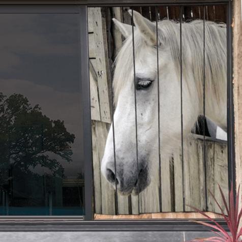 moustiquaire de baie vitrée motif cheval 210 x 150cm
