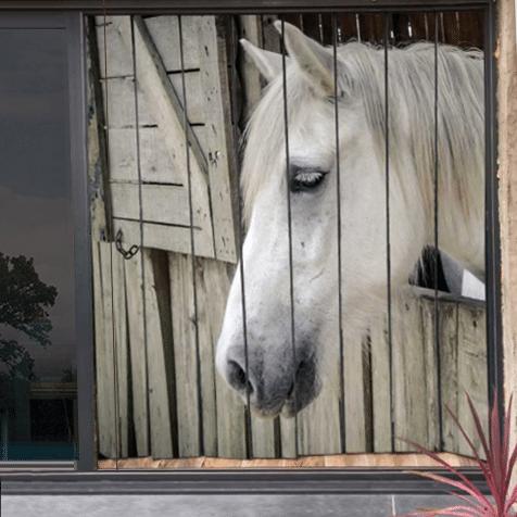 moustiquaire de baie vitrée motif cheval 210 x 200 cm