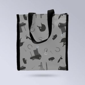 BOXPROTEC-Sac-a-main-Face-avant-motif-equestre-gris