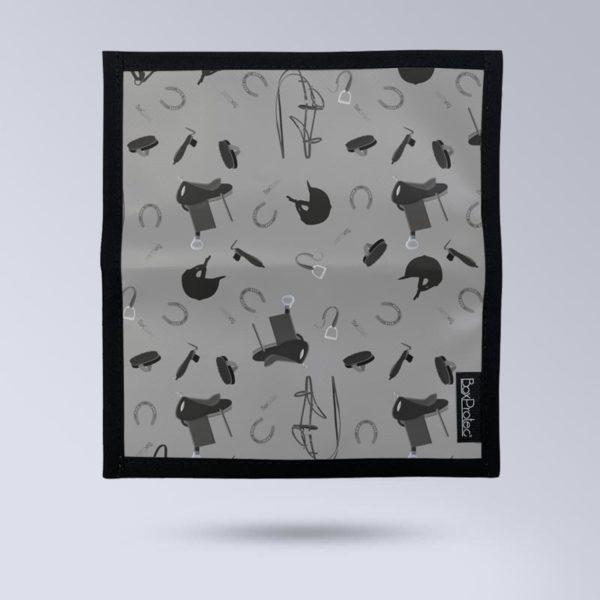 BOXPROTEC Porte chéquier personnalisable - Motif équestre gris