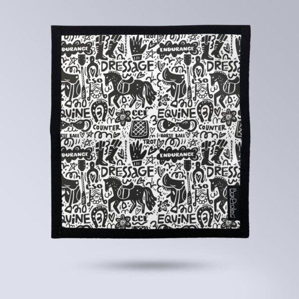 BOXPROTEC Porte chéquier personnalisable - Illustrtion équestre noir et blanc